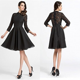 Hot Black Scoop Lace Top Long Sleeve Beads Short Chiffon Party Dresses Free Shipping Charming Elegant Mother Dress Plus Size