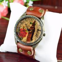 Wholesale New ladies watches vintage rose Big Ben leather belt quartz watch Fashion Luxury women wristwatch Roman numerals leisure watch