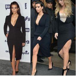 Wholesale Kim Kardashian Black Cocktail Dress - NEW ARRIVAL Celebrity Sexy Kim Kardashian Dress Fashion 2014-2015 BLACK V Neck Long Sleeved front Slit Cocktail Casual dress Free Shipping