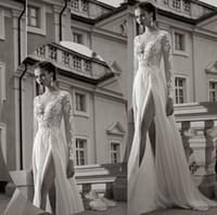 Empire Reference Images V-Neck 2015 New Vintage A-Line Deep V Neckline Wedding Dress Bridal Gowns Long Sleeves Side Slit Chiffon See Through