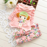 Girl beauty suit pants - Fall New Arrival Girl Suit All Cotton Beauty Picture T Shirt Flower Pants Baby Set Kids Floral Set Children s Outfits amp Set GX802