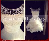 A-Line sexy mini wedding dress - Elegant Sheer Pearl Beading Short Wedding Dresses Scoop Neck V Back Lace Applique Knee Length Tulle Wedding Gowns