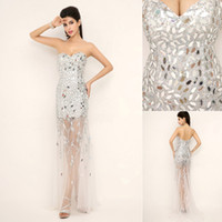 Wholesale SSJ New Bling Bling Sexy Prom Dresses With Sweetheart Sequins Beaded Backless See Through Luxury Evening Pageant Gowns In Stock XU012