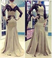 Reference Images Crew Taffeta Wholesale - Free Shipping 2014 New Elegant Arabic Kaftan Evening Dresses Women With Long Sleeves And Applique Lace Satin Abaya Dubai 312