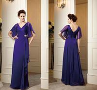 V-Neck purple mother of bride dress - 2014 Vintage Purple Cheap Evening Dresses Mother of the Bride Groom Dresses V Neck Backless A Line Backless Beads Chiffon Formal Dress Gowns