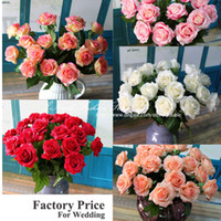 Wholesale Artificial Real Touch Big Blooming Roses Simulation Decorative flowers Wedding Home Party Decoration no vase