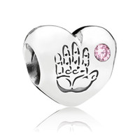 Silver Hearts, Love Pink 2014 New 925 Sterling Silver Pink Cubic Zironia Baby Girl Charm Heart Bead fit DIY bracelet fashion jewelry High quality