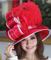 Wholesale Ladies Derby Church Hats Women Hat Satin Fabric Twist Hat Satin Ribbon Hat Feather Women Chapeau Millinery Top Hat Good Quality Red Hat