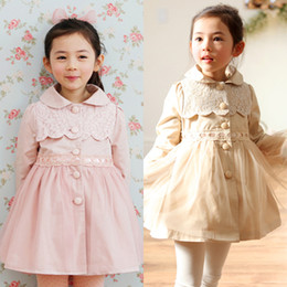 Wholesale New Girls Children Autumn Spring Pure Color Lace Trench Coat Kids Girls Fashion Cotton Single breasted Gauze Coat Windbreaker