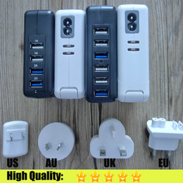 Wholesale 4 or USB Ports Power AC Adapter Travel Charger W V A Wall Charger US EU UK AU Interchangeable Plugs for iPhone iPad Cell Phone