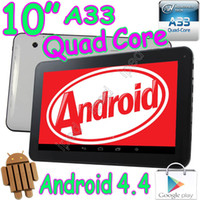 Wholesale 50Pcs quot Quad Core Allwinner A33 GHZ Android Capacitive Touch Screen Tablet PC GB GB Bluetooth Wifi Dual Webcam MID White Black