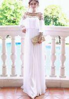 Model Pictures Off-the-Shoulder Chiffon Free shipping floor-length heavy beaded chiffon fancy dubai women kaftan abaya evening dress design caftan gown fashion