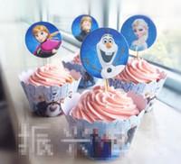 Wholesale 2014 Bakeware Paper Cup Set Europe Frozen Elsa Anna Cartoon Children Kids Party Supplies Cupcake Wrapper Suits Child Cupcake E0409