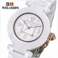 Fashion Quartz-Battery White Welasidn Hot Sell Luxury Fashion round White Ceramic Classics Decorative Diamond Women Clock Dress Girls swiss Quartz movement WristWatches