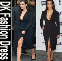 Street Style V-Neck Long Sleeve Celebrity Dresses 2014 Kim Kardashian Dress Hot Sale Black Sexy V Neck Long Sleeve Women Fashionable Red Carpet Dresses For Sale DK4016SY