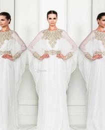Wholesale Arabic Dubai ABAYA KAFTAN white New Zuhair Murad Muslim Dress Poet Long Sleeve With Beaded Chiffon Evening Dresses formal