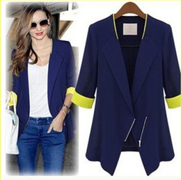 Wholesale Women s New Style Spliced Causal Elegant Silm Fashion Suit With Zipper White And Blue