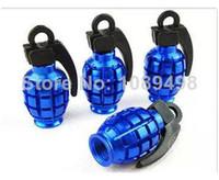 Yes NO SL150 Wholesale-MN-Auto car truck motor bicycle antitank grenade style tire wheel rims valve cap cover universal BLUE color 4Pcs Set