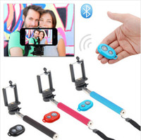 Wholesale Extendable Self Portrait Selfie Stick Handheld Monopod Wireless Bluetooth Remote Shutter Control for IOS Android Phones With Package