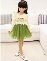 TuTu Spring / Autumn A-Line Lady Girl Cotton Round Collar Long Sleeve Lace Rose Princess Dress Puff Gauze Girls Dresses Dark Coffee Orange Green Children Clothing K0416