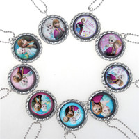 Wholesale Mixed Frozen Necklace Princess Pendants Cartoon Flatback Cameo Cabochons Baby Kids Jewelry Accessories Elsa Anna Clothes Accessories
