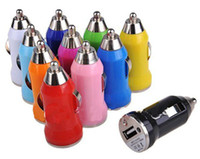 Wholesale 1000pcs Colorful Bullet Mini USB Car Charger Universal Adapter for Cell Phone PDA MP3 MP4 DY