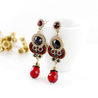 bead gemstone earring - New Vintage Imitation Gemstone And Beads Alloy Dangle Earrings For Women Jewelry