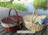 basket handle - Wicker Picnic Basket With Handle Cleaning Basket Storage Basket Finishing basket Coffee Brown and Primary Color