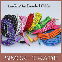 Wholesale Colorful Fabric Braided V8 Micro USB Charger Cable Adapter M FT M FT M FT Data Sync Nylon Line for Samsung S4 S5 I9600 Blackberry