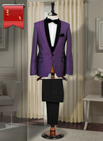 Wholesale 2014 Custom Made Purple Men s Suits With Black Shawl Lapel Groom Tuxedos Business Suits Best Man Suits Groom Wear Jacket Pants Bow Tie