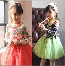 Wholesale 30pcs HOT Cute Princess Girl Dresses Autumn Dresses Full Printing Large Flower dress skirts for girls dress cotton CM A