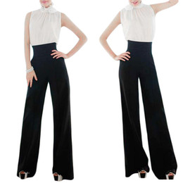 Wholesale S5Q Wide Leg Long Pants Trousers Ladies Women Casual Black Slim High Waist Flare Pants AAADPM