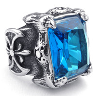 Band Rings South American Unisex 316L Stainless Steel Cool Silver Blue Dragon Claw Big CZ Newest Silver Party Ring