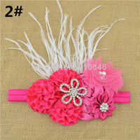 Wholesale 2014 new Satin Ribbon DIY Flower rhinestone hairband for baby girl princess lace rose flower headband