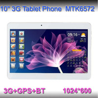 Wholesale 10inch WCDMA G Phone Call tablet pc G G MTK6572 Dual Core Ghz android phone call GPS bluetooth Wifi Dual Camera with SIM Card