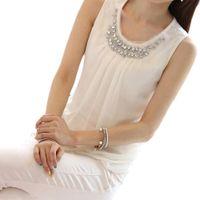 Wholesale S5Q Women Pleated Shirt Career Blouse Lady Chiffon Tops Fashion Sleeveless Vest AAADQA