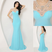 Model Pictures Crew Chiffon SSJ Real Pictures Sheer Crew Neck Sleeveless Long Evening Dress In Stock Chiffon Mermaid Sweep Train Illusion Backless Prom Dresses Gowns
