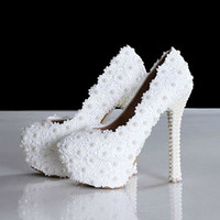 Wholesale 2014 New Spring Elegant Lace Wedding Shoes Sweet White Flower Pearls Platform Fashion High Heel Bridal Shoes