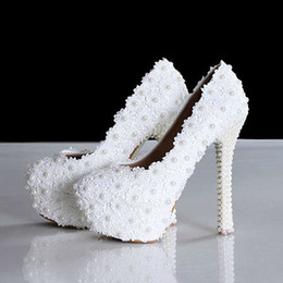 New Spring Elegant Lace Wedding Shoes Sweet White Flower Pearls Platform Fashion High Heel Bridal Shoes