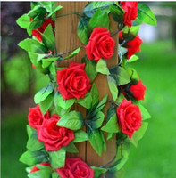 other Decorative Flowers & Wreaths,Rose Yes 6 PCS artificial silk rose flower garlands, Each 6.5FT Long with 9 large roses, ivy leaves, for wedding home party decoration