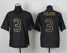 Wholesale 2014 PRO Gold Lettering Fashion Jerseys Russell Wilsons Black American Football Jerseys Super Bowl XLVIII Champion Jerseys