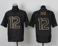 Wholesale 12th Fan Black Football Jerseys PRO Gold Lettering Fashion Jerseys Star Player Sport Jerseys Top Selling American Football Team Jerseys