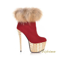 Wholesale Woman Red Short Boot Rivets Ankle Boots Sheep Suede Women s Martins Boots Roman Style Fur Stiletto Heel Side Zipper Winter Boots Heel cm