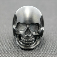 Three Stone Rings Skull Punk Gtohic Ring Skull ring Size 7 to Size 16 Mens boys 316L Stianless Steel Dull Pulish black Style Skull Ring For Cool Biker Hot Sale Ring GUARANTEE 100%