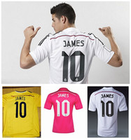 Wholesale New Arrival Reals Madrid James Soccer Jerseys White Home Pink Away Thailand Quality World Cup Colombia Home Soccer Jersey