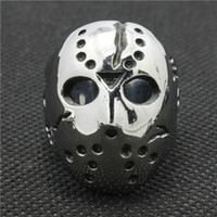 american racing steel - 316L Stainless Steel Cool Jashon Mask Death Race Siver Cool Ring