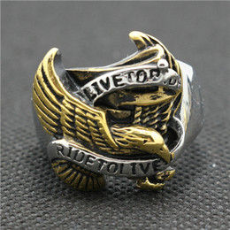 316L Stainless Steel Golden Eagle Biker Ride to Live Silver New Ring