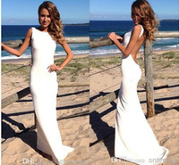 Trumpet/Mermaid Reference Images Jewel 2014 Summer Beach Backless Wedding Dresses for Bride with Ruched Chiffon Mermaid Style Jewel Neckline Sleevless Sweep Train Bridal Gowns