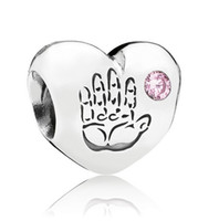 Cheap 2014 New Sterling Silver Pink Cubic Zironia Baby Girl Palm Hand Charm For DIY Personalized Pandora Jewelry