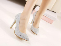 Wedding Heels High Heel 2014 crystal diamond silver Prom shoes female high-heeled shoes pointed fine gold diamond wedding shoes Sexy Bridemaid shoes